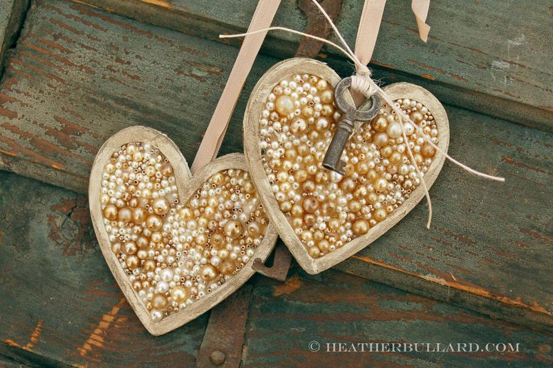 Pearl Heart Ornaments by Heather Bullard